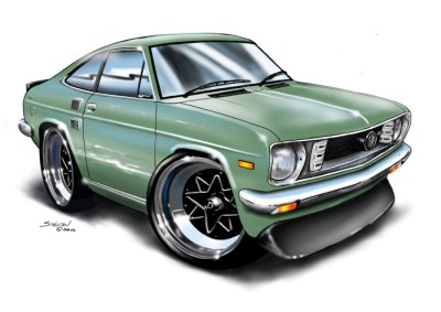 cartoon car art, datsun drawing, cartoon car drawing,