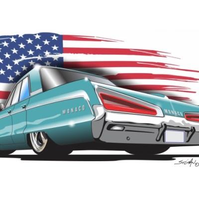 Dodge Monaco, American Muscle Cars, cartoon car art,