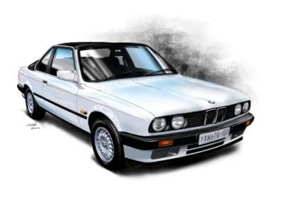 BMW Cabriolet E30, car art, car drawings,