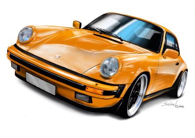 porsche 911 orange, porsche 911 drawing,