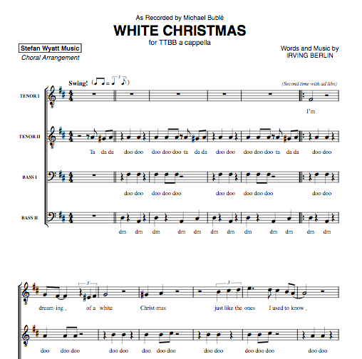Michael Buble White Christmas.White Christmas Michael Buble For Ttbb A Cappella Sheet Music