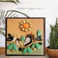 Картина с рисувани камъни Птици