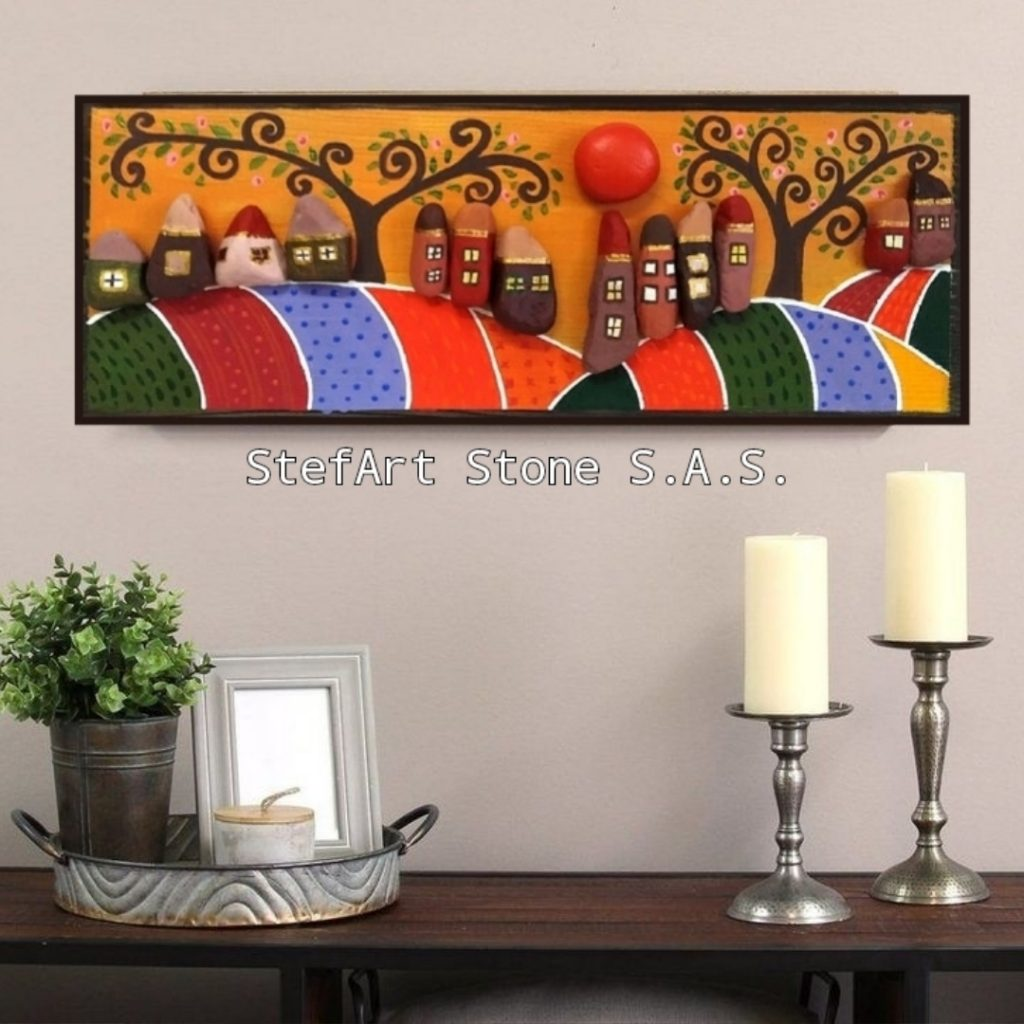 картина пейзаж село рисувани камъни коледа намаление пана за стена картина подарък