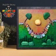 декоративно пано с рисувани камъни весело село