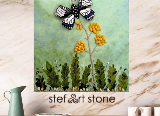 картини, пана, пеперуди, пейзаж зелено, картини онлайн, пана с камъни