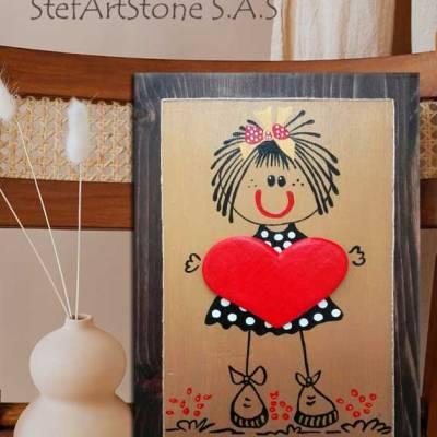 картини и пана, картина момиче, пано декорация дом, картина сърце