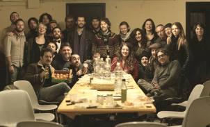 Teatro Puccini, io Marino Sanchi, Giusi Salis, Fiamma Negri siamo sulla destra. Il Peppe aveva portato mandarini calabresi.