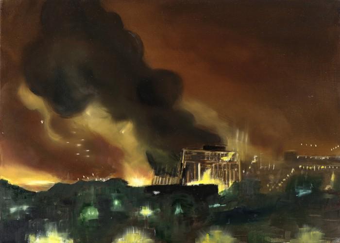 Feuersturm I, Öl auf Schichtholzplatte, 30 x 42 cm, 2013 (Privatsammlung)