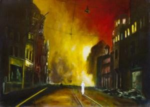 Feuersturm VIII (Nacht über Nürnberg), Öl und Flachstich auf Schichtholzplatte, 60 x 90 cm, 2015