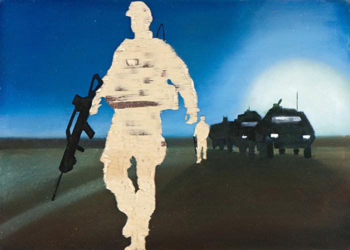 Irgendwo ist immer ein Krieg IV/13, Öl und Flachstich auf Schichtholzplatte, 30 x 42 cm, 2013