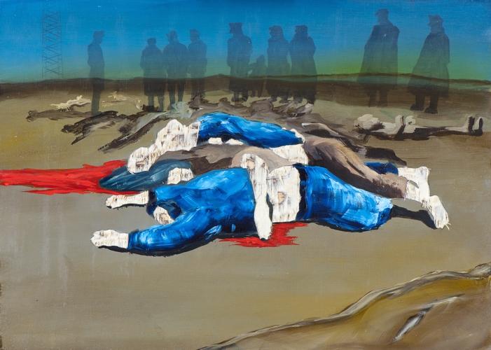 Irgendwo ist immer ein Krieg VI/14, Öl und Flachstich auf Schichtholzplatte, 30 x 42 cm, 2014 (Privatsammlung)