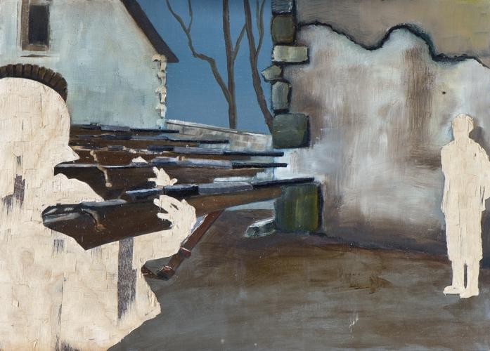 Meines Bruders Hüter III, Öl und Flachstich auf Schichtholzplatte, 30 x 42 cm, 2014