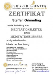 Zertifikat zum Meditationslehrer