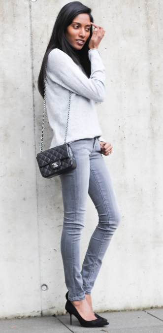minimalist outfit gray and black