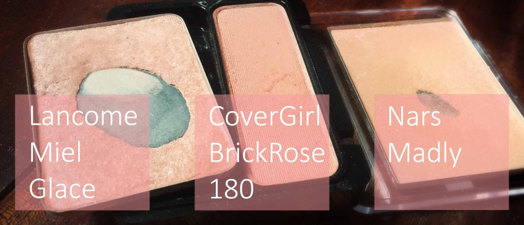 Blush Pans: Lancome Miel Glace, CoverGirl Brick Rose 180, Nars Madly