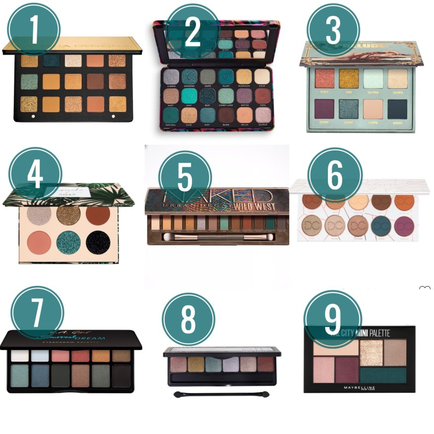 Collage showing 8 palettes that have a similar color scheme to Urban Decay Naked Wild West