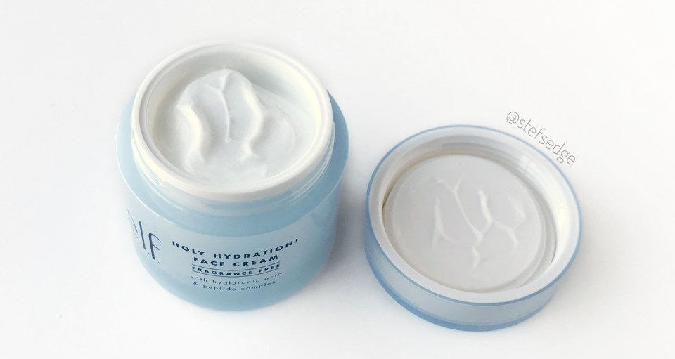 ELF Holy Hydration Face Cream Fragrance Free with lid off on white background