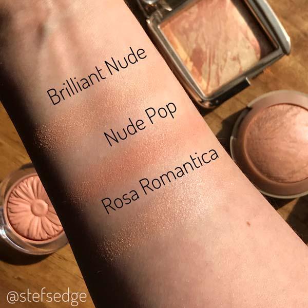 Blush Swatches - Brilliant Nude, Nude Pop, Rosa Romantica on fair/pale/very light skin tone