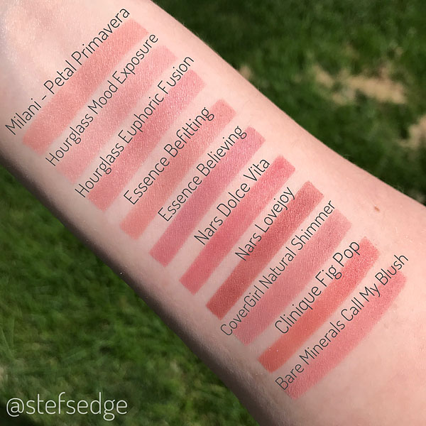 Blush Swatches Nars Dolce Vita compared to Milani Petal Primavera, Hourglass Mood Exposure, Essence Befitting, Essence Believing, Nars Lovejoy, Covergirl Cheekers Natural Shimmer, Clinique Fig Pop, Bare Minerals Call my Blush