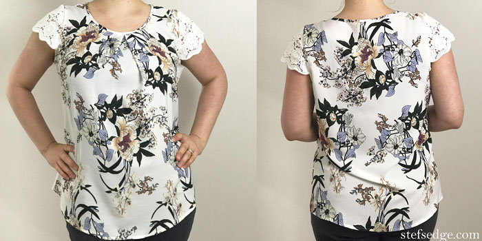 Milumia Chiffon Pleated Bluse in Floral Printe with Lace Cap Sleeve, from Amazon.com