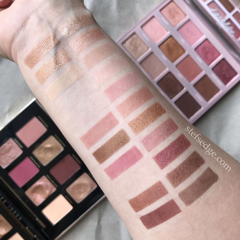 Tartelette Juicy palette swatches compared to Bobbi Brown Luxe Metal Rose palette swatches. Palette vs palette swatches.