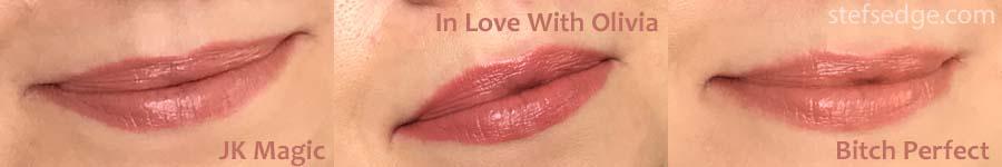 Charlotte Tilbury K.I.S.S.I.N.G. lipstick lip swatches JK Magic, In Love With Olivia, Bitch Perfect.