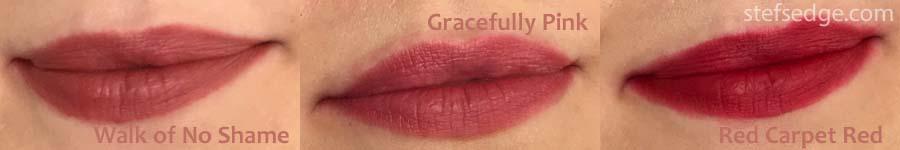 Lip Swatches Walk of No shame, Gracefully Pink, red Carpet Red. Charlotte Tilbury Matte Revolution lipsticks