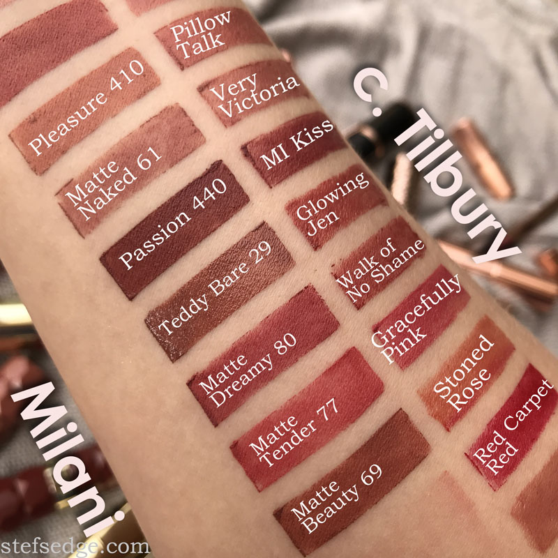 Milani vs Charlotte tilbury lipstick swatches dupes. Shades Pleasure 440, Matte Naked 61, Passion 440, Teddy Bare 29, Matte Dreamy 80, Matte Tender 77, Matte Beauty 69, Pillow Talk, Very Victoria, MI Kiss/Bond Girl, Glowing Jen, Walk of No Shame, Gracefully Pink, Stoned Rose, Red Carpet Red