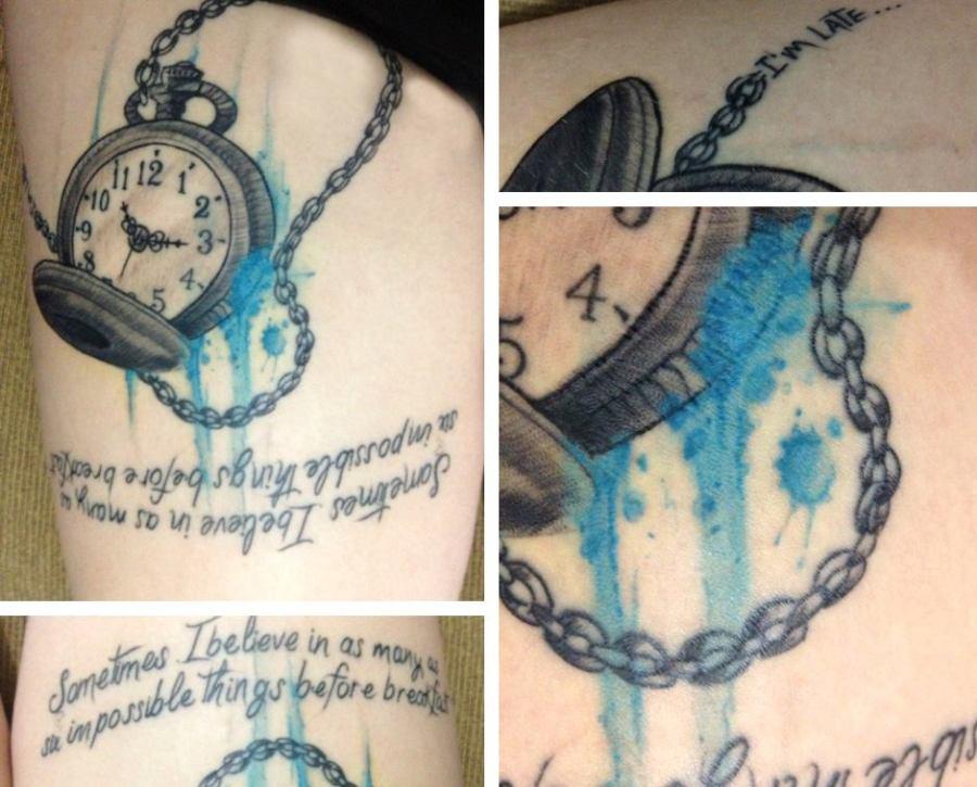 tatuagem relogio do coelho branco