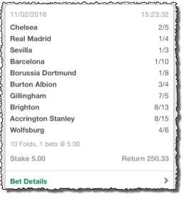 10 Fold Accumulator Winner