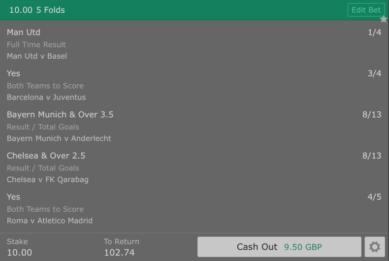 Footy Accumulator Champions League Group Stages - Round 1 - 5 Fold - 9/1