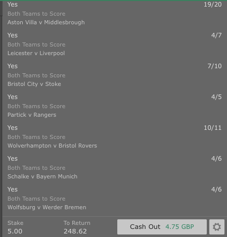 Footy Accumulator BTTS 7 Fold - 48/1