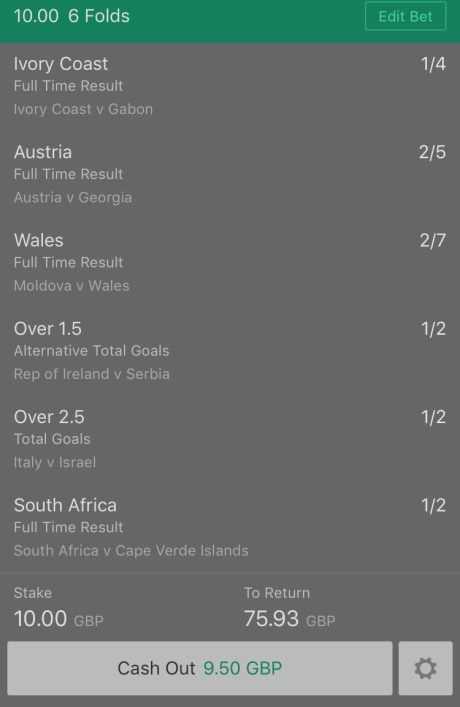 Footy Accumulator World Cup Qualifier 6 Fold - 6.5/1
