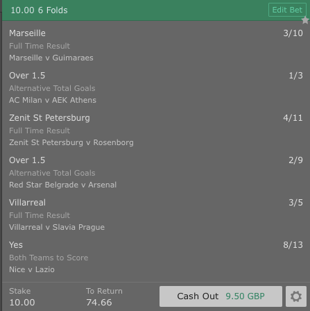Footy Accumulator UEL Group Stages - 6 Fold - 6.4/1