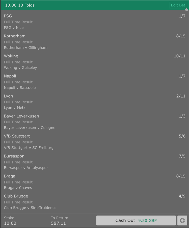 Footy Accumulator Poisson Model - Home Win - 10 Fold - 57/1