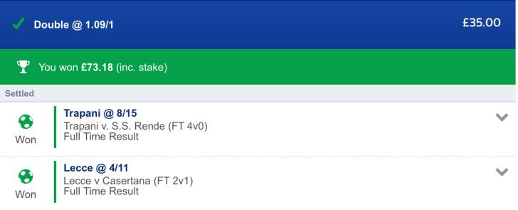 Winner - Free Football Tips - Italian Serie C Lunchtime Double - 1.09/1