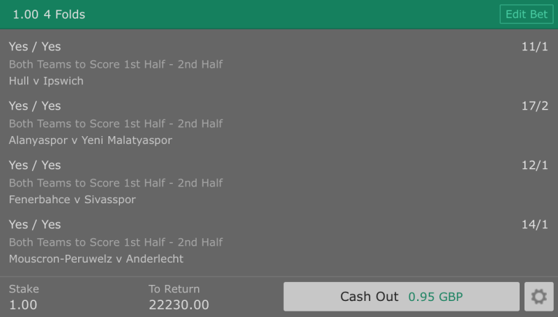Football Betting Tips - Both Teams to Score in Both Halves - 4 Fold - 22,000/1