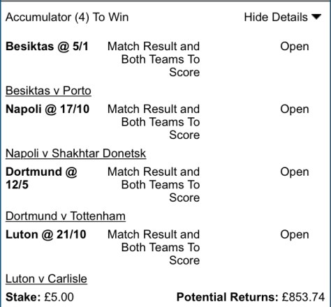 Free Football Tips - Midweek BTTS Result - 4 Fold - 169/1