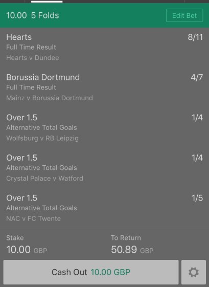 Football Tonight - Tuesday Night Football - 5 Fold - 4/1