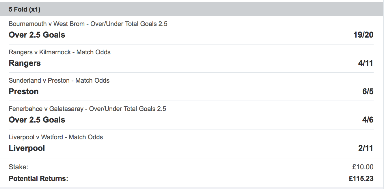 Acca Tips - Soccer Saturday Five Fold - 10/1 - Biffs Bets