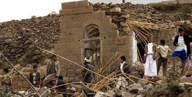 Landsby nær Sana'a in Yemen setter Saudi bombing