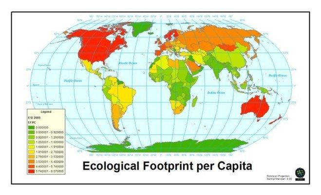 Den rike verden har et økologisk fotavtrykk som liger svært langt over jordas tåleevne