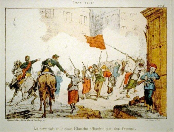 Pariskommunen i 1871, barrikade på Place Blanche. Kvinnene spilte en svært aktiv rolle