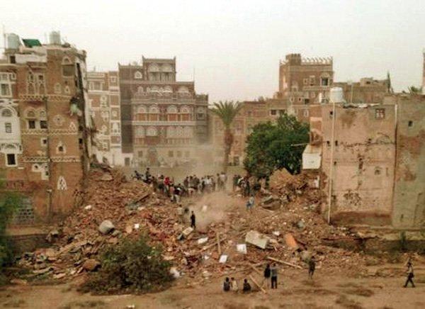 Område i Sana'a etter bombinga