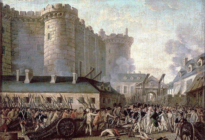 Stormen på Bastillen under den franske revolusjonen i 1789. Den europeiske eliten drømmer seg tilbake til tida før.