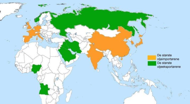 Kartet viser de største oljeeksportørene og oljeimportørene (kilde: Wikipedia og CIA World Data)