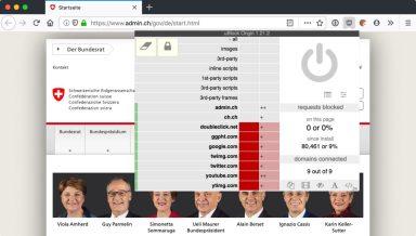Screenshot: admin.ch mit uBlock Origin