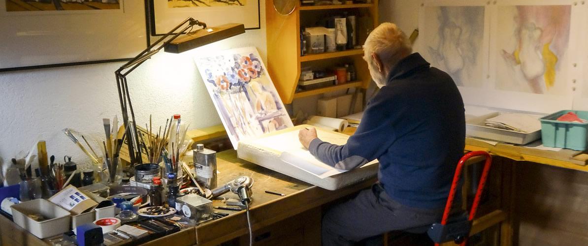 """Elmar Kopp - Oberländer """"Altmeister"""" ist Afra-Lithograph 2015, Foto: Hansjörg Weratschnig"""