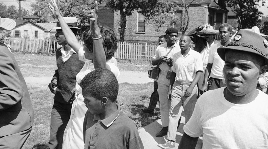 The September 1966 Cicero protest against housing discrimination was one of the first nonviolent civil-rights campaigns launched near a major city. (Associated Press)