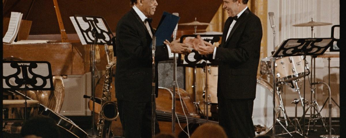 President Nixon presenting Duke Ellington with the Presidential Medal of Freedom. April 29, 1969.